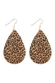 Riah Fashion Leopard Teardrop Cork Earrings - Product Mini Image