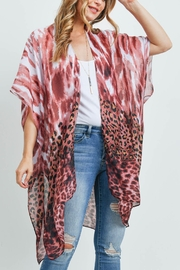Riah Fashion Leopard Tie Dye Kimono Red Bean - Product Mini Image