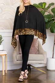 Riah Fashion Leopard Trim Solid-Poncho - Product Mini Image