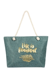 Riah Fashion Life Is Beautiful Gold Printed Tote Bag - Product Mini Image