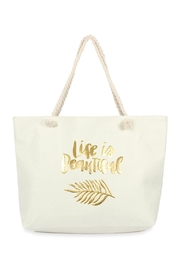 Riah Fashion Life Is Beautiful Gold Printed Tote Bag - Front cropped