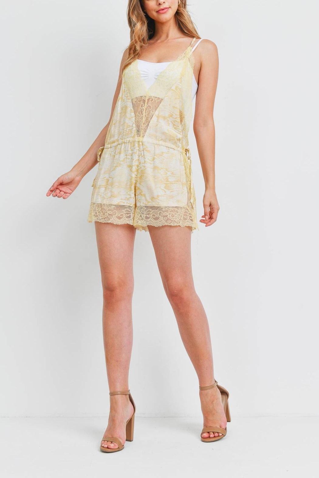 Riah Fashion Light Yellow Romper - Side Cropped Image