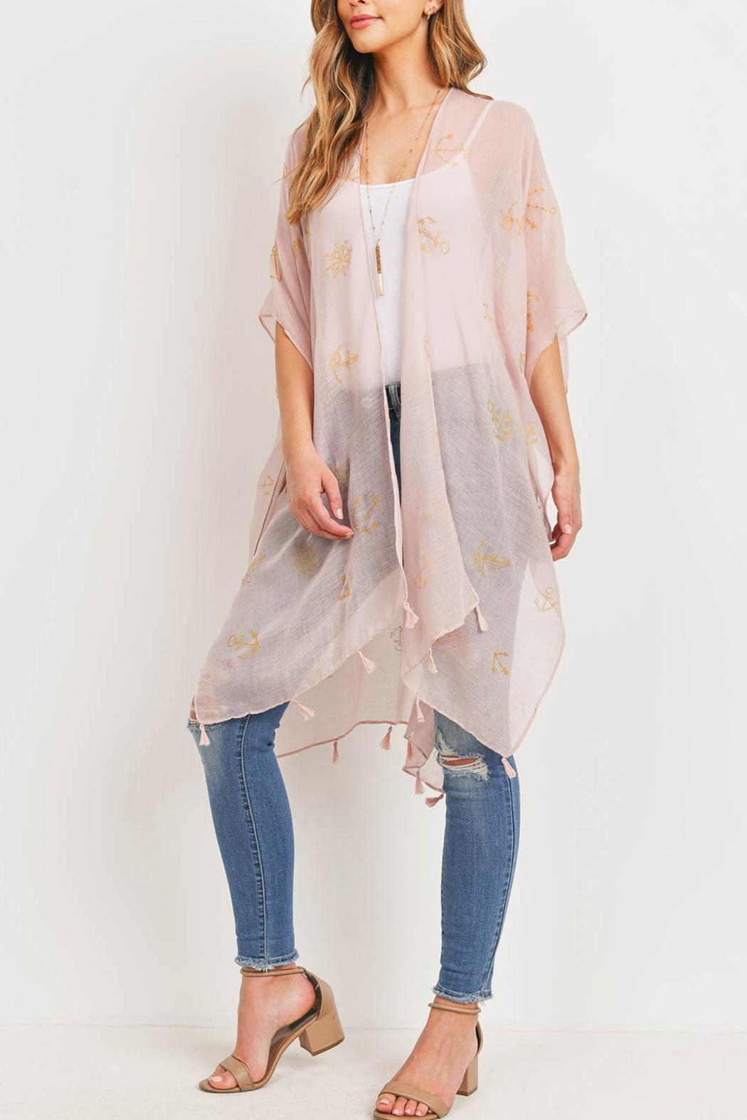 Riah Fashion Lightweight-Anchor-&-Leaf-Beach-Cover-Ups - Back Cropped Image