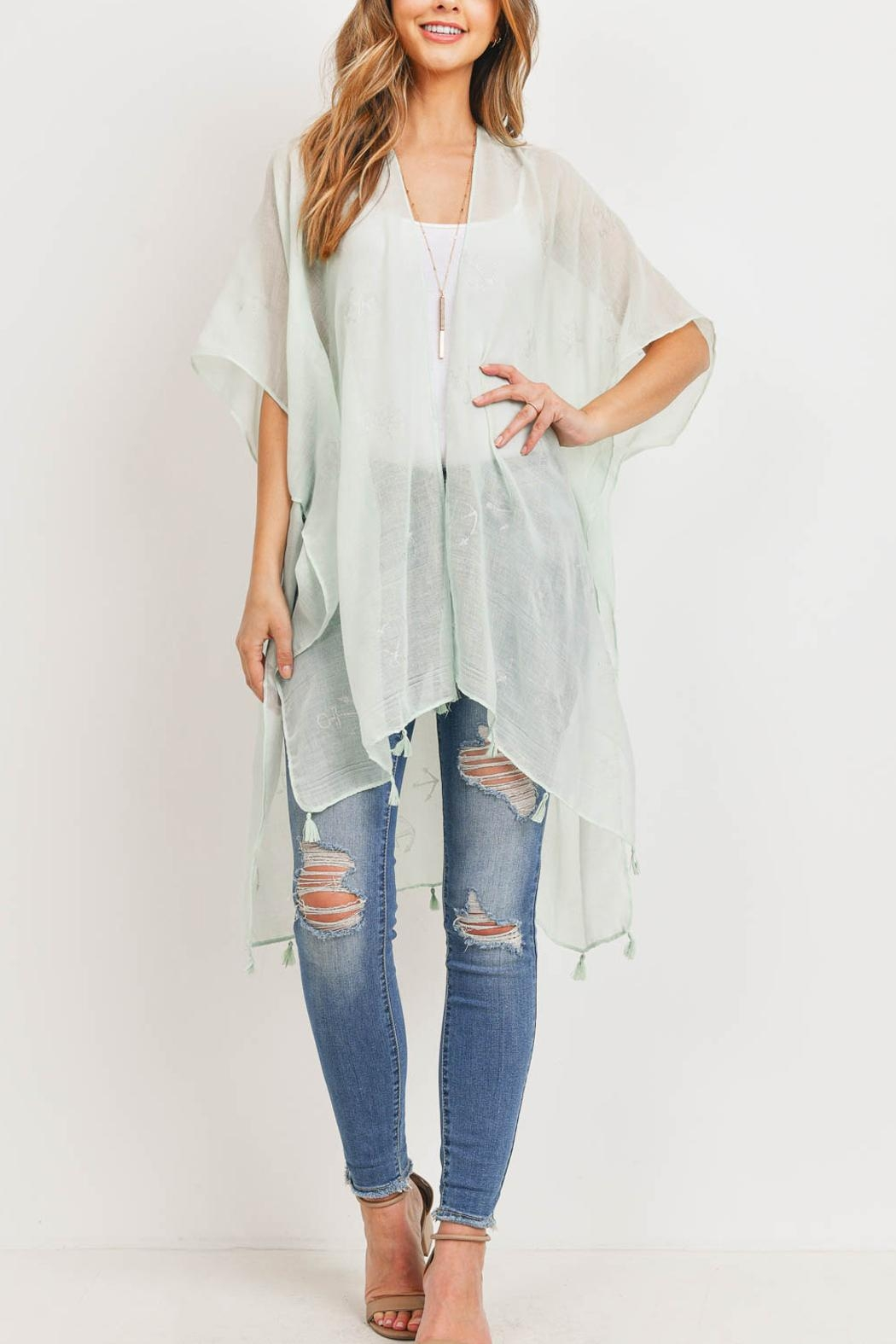 Riah Fashion Lightweight Anchor & Leaf Beach Cover Ups - Back Cropped Image