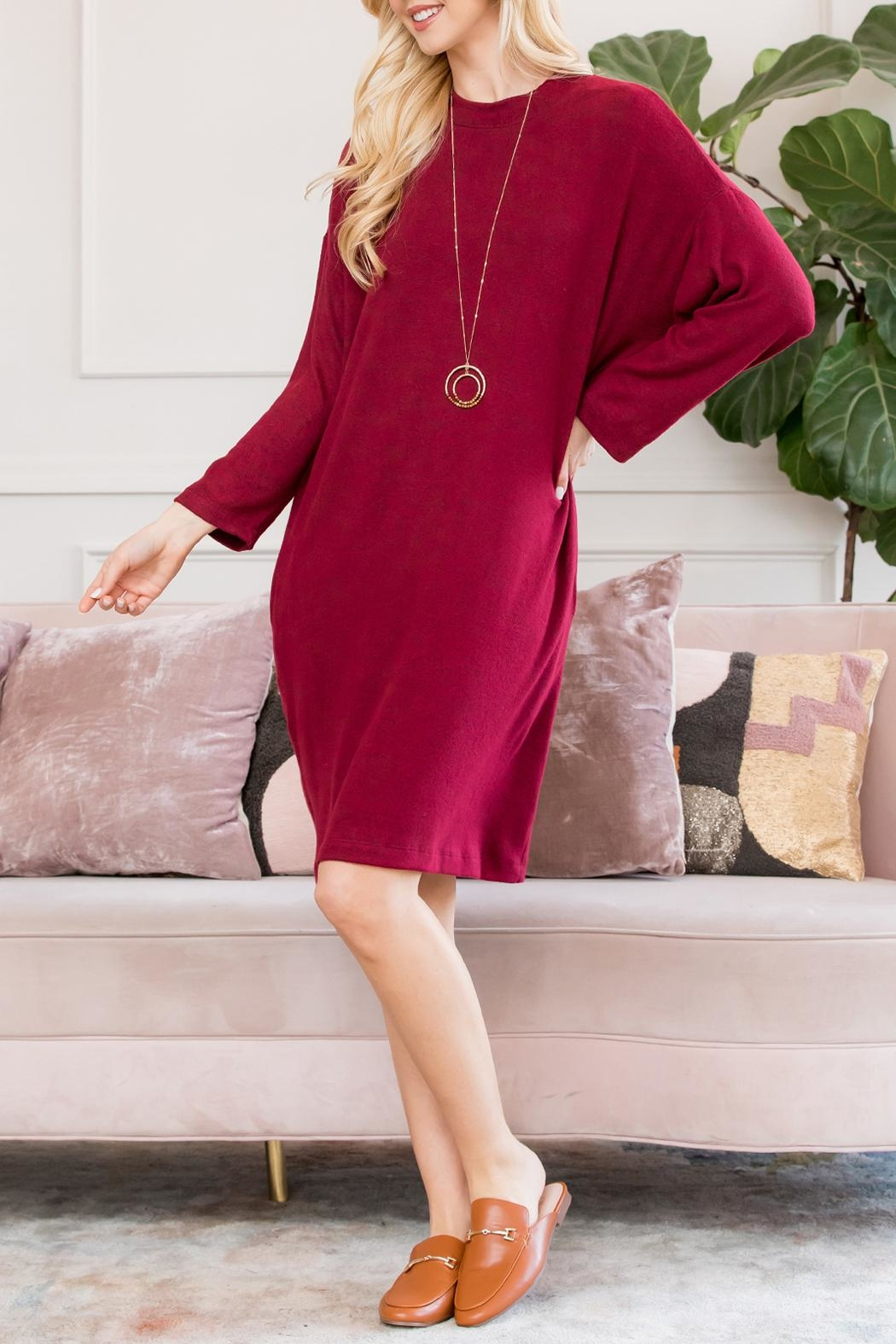 Riah Fashion Lightweight Hacci-Sweater-Dress - Front Full Image