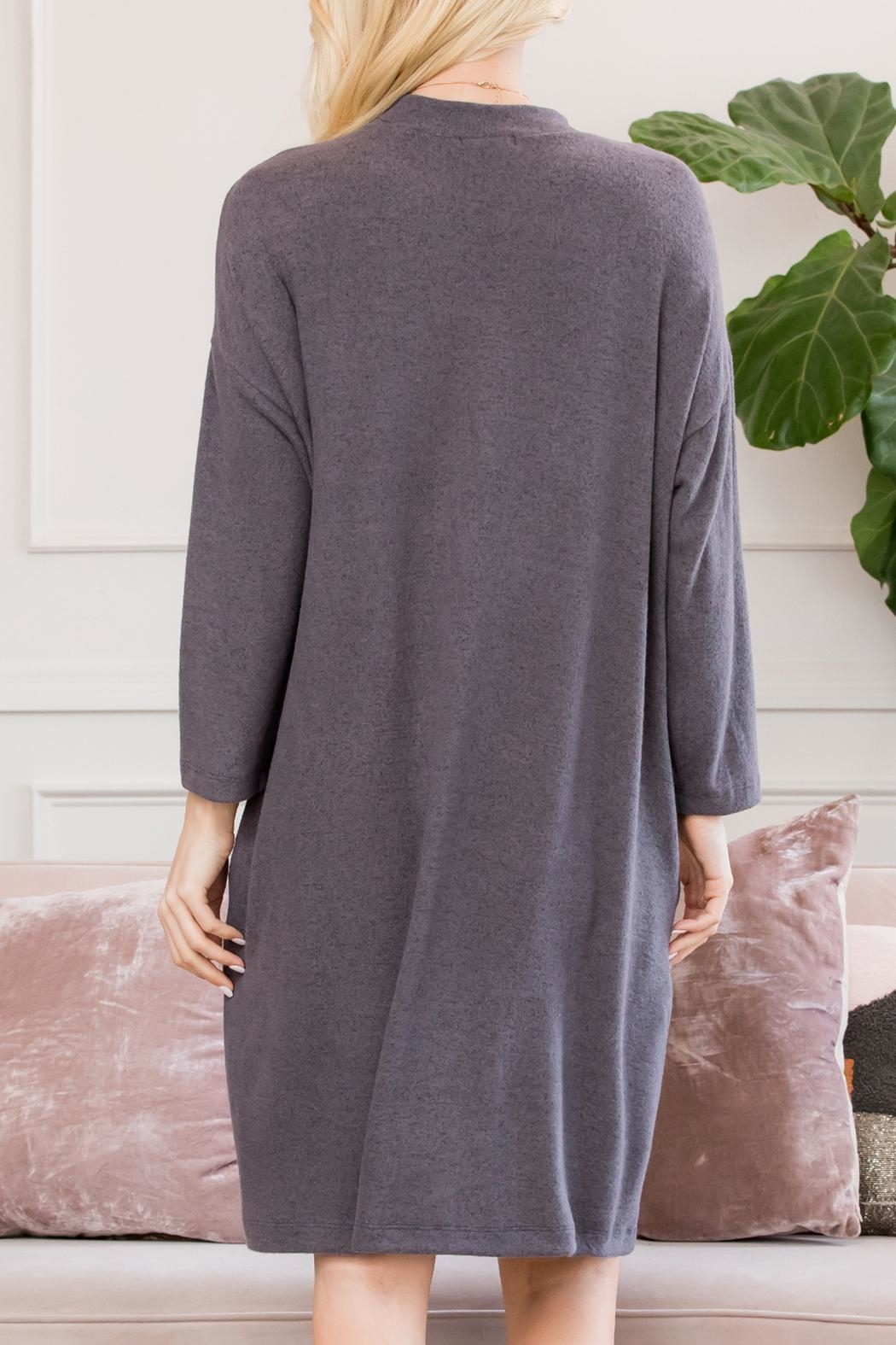 Riah Fashion Lightweight Hacci-Sweater-Dress - Side Cropped Image