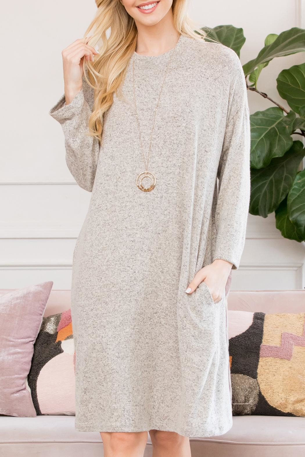 Riah Fashion Lightweight Hacci-Sweater-Dress - Front Cropped Image