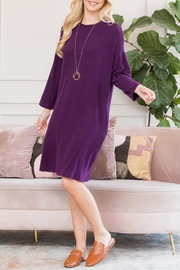 Riah Fashion Lightweight Hacci-Sweater-Dress - Front full body