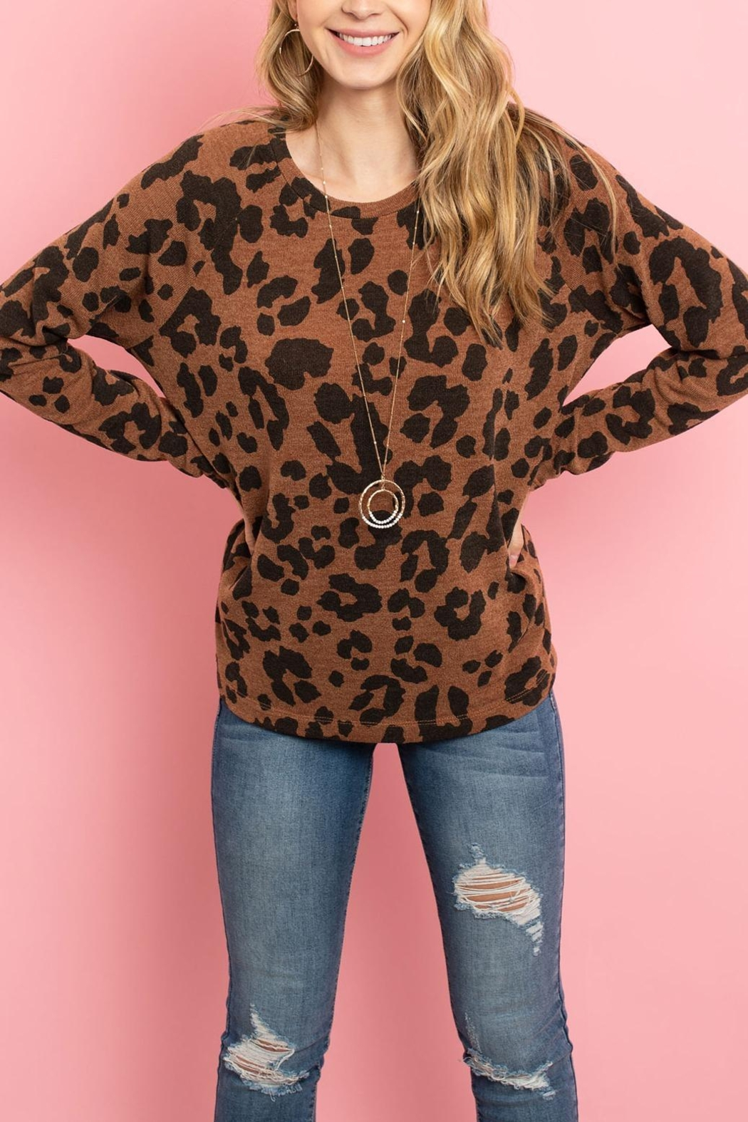 Riah Fashion Lightweight-Leopard -Print-Pullover - Side Cropped Image