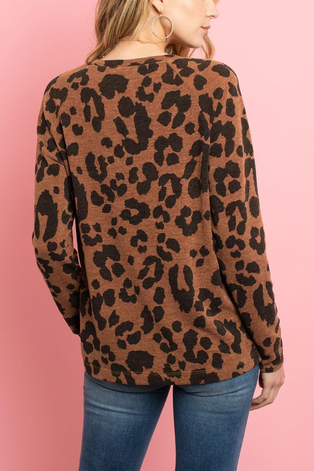 Riah Fashion Lightweight-Leopard -Print-Pullover - Front Full Image