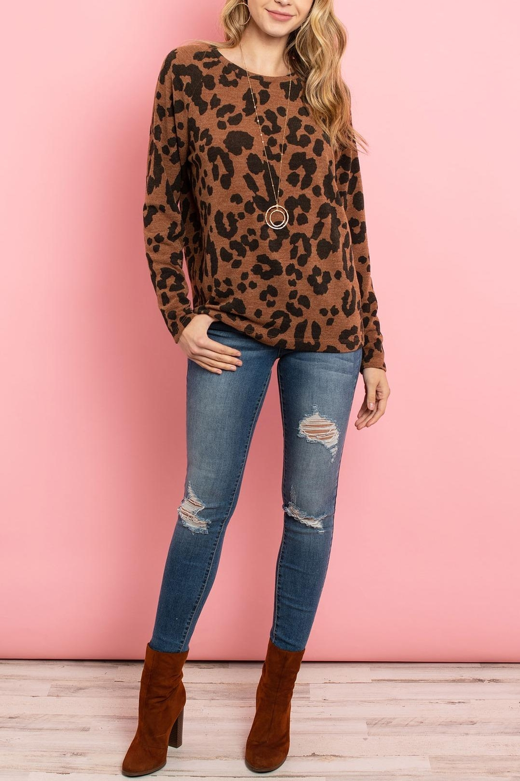 Riah Fashion Lightweight-Leopard -Print-Pullover - Back Cropped Image