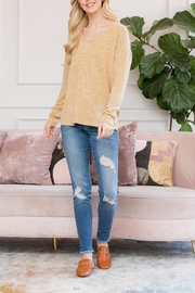 Riah Fashion Lightweight Two-Tone Sweater - Front cropped