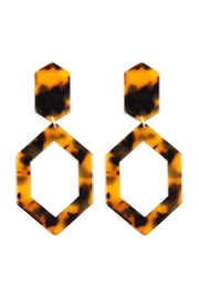 Riah Fashion Linked-Polygon Tortoise-Acetate Drop-Earrings - Product Mini Image