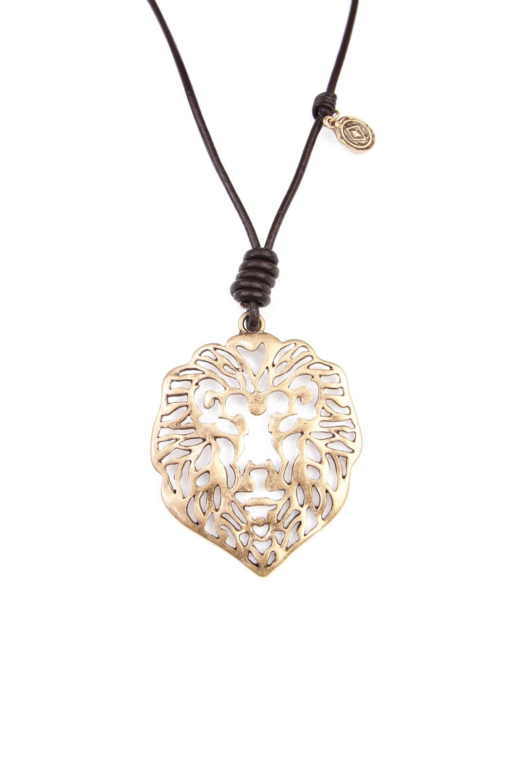 Riah Fashion Lion Pendant Necklace - Front Full Image