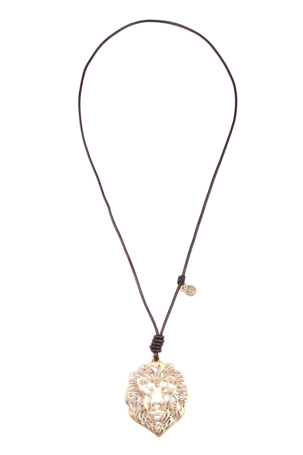 Riah Fashion Lion Pendant Necklace - Front Cropped Image
