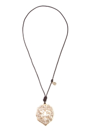 Riah Fashion Lion Pendant Necklace - Front cropped