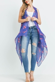 Riah Fashion Lobster-Print-Open-Front-Kimono Vest - Front cropped