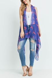 Riah Fashion Lobster-Print-Open-Front-Kimono Vest - Side cropped