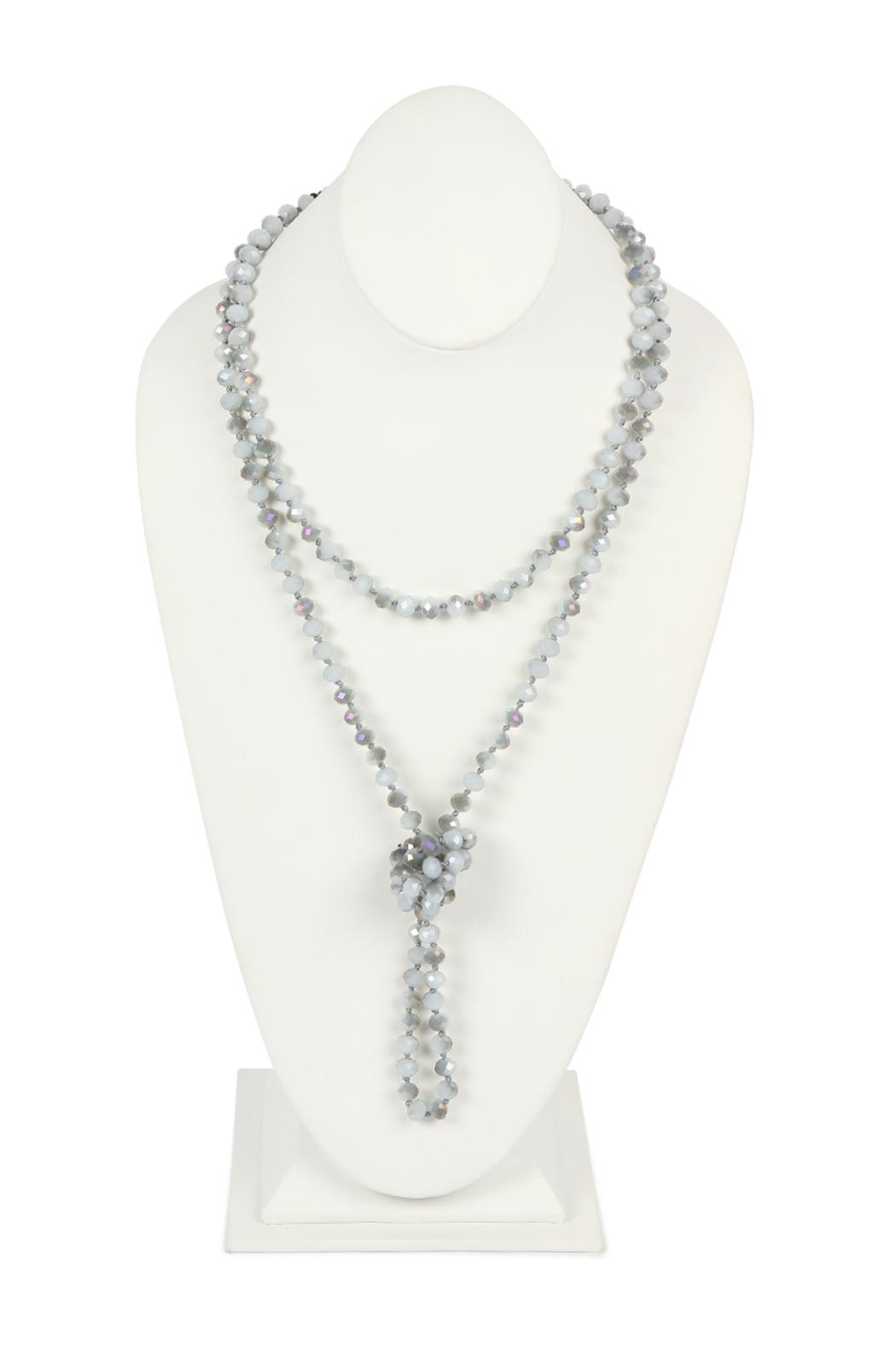 Riah Fashion Long-Knotted-Glass Beads-Necklace - Front Cropped Image