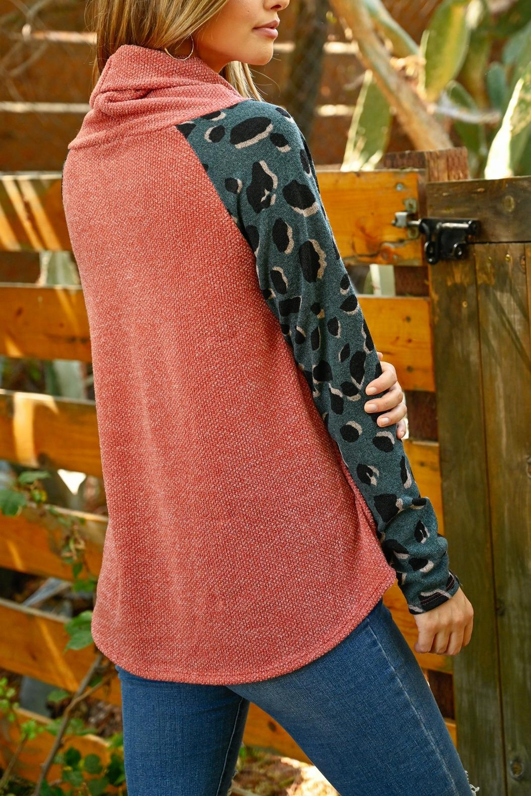 Riah Fashion Long-Leopard-Sleeve-Cowl-Neck-Top - Back Cropped Image
