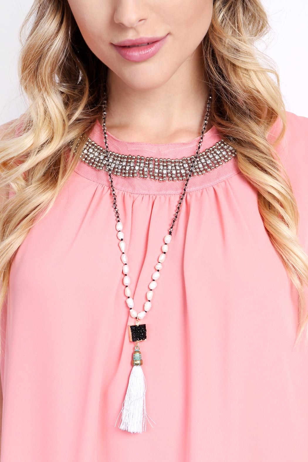 Riah Fashion Long Line Tassel Necklace - Side Cropped Image
