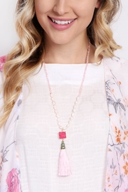 Riah Fashion Long Line Tassel Necklace - Side cropped