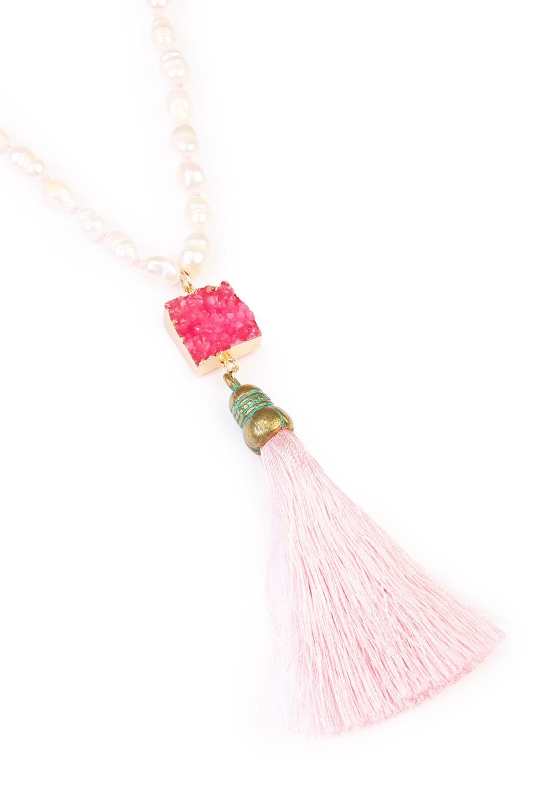 Riah Fashion Long Line Tassel Necklace - Front Full Image
