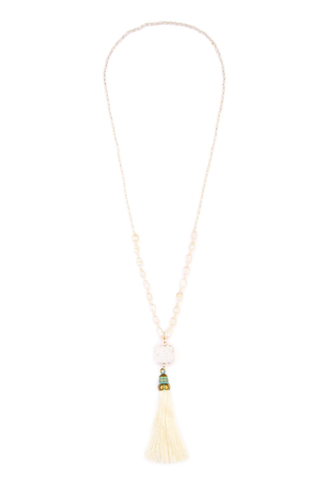 Riah Fashion Long Line Tassel Necklace - Front Cropped Image