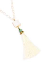 Riah Fashion Long Line Tassel Necklace - Front full body