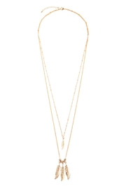 Riah Fashion Long Triple Feather Necklace - Product Mini Image