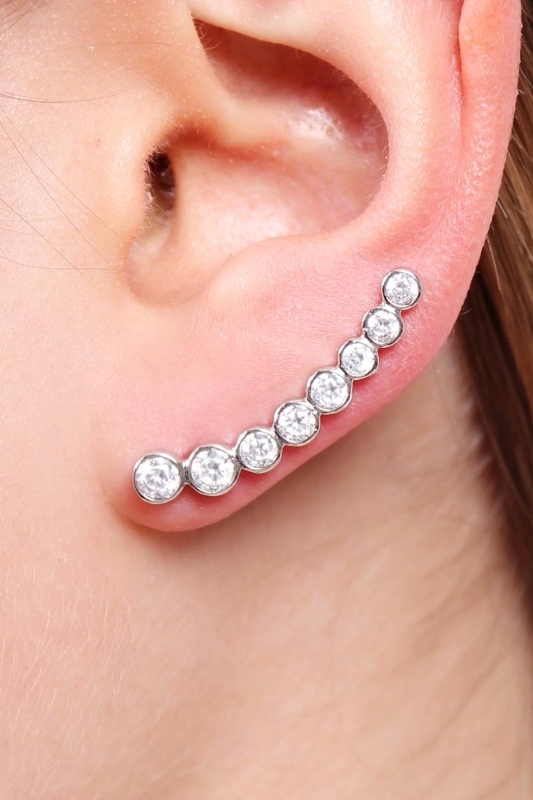 Riah Fashion Long Rhinestone Earrings - Back Cropped Image