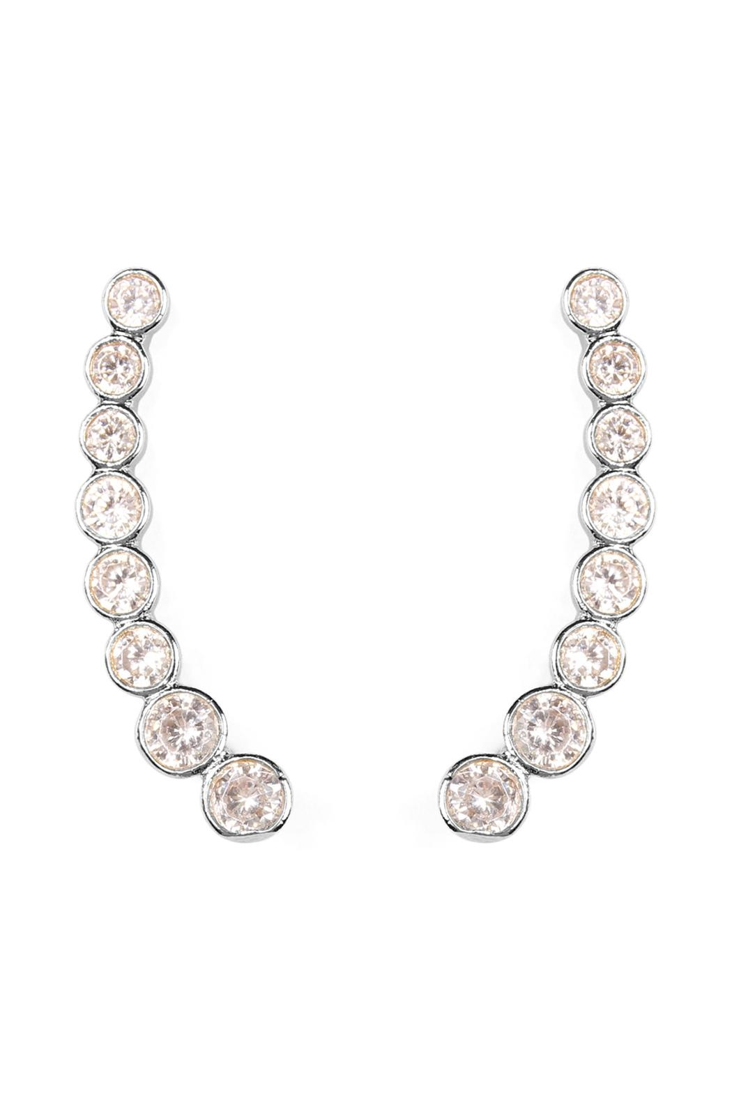Riah Fashion Long Rhinestone Earrings - Front Full Image