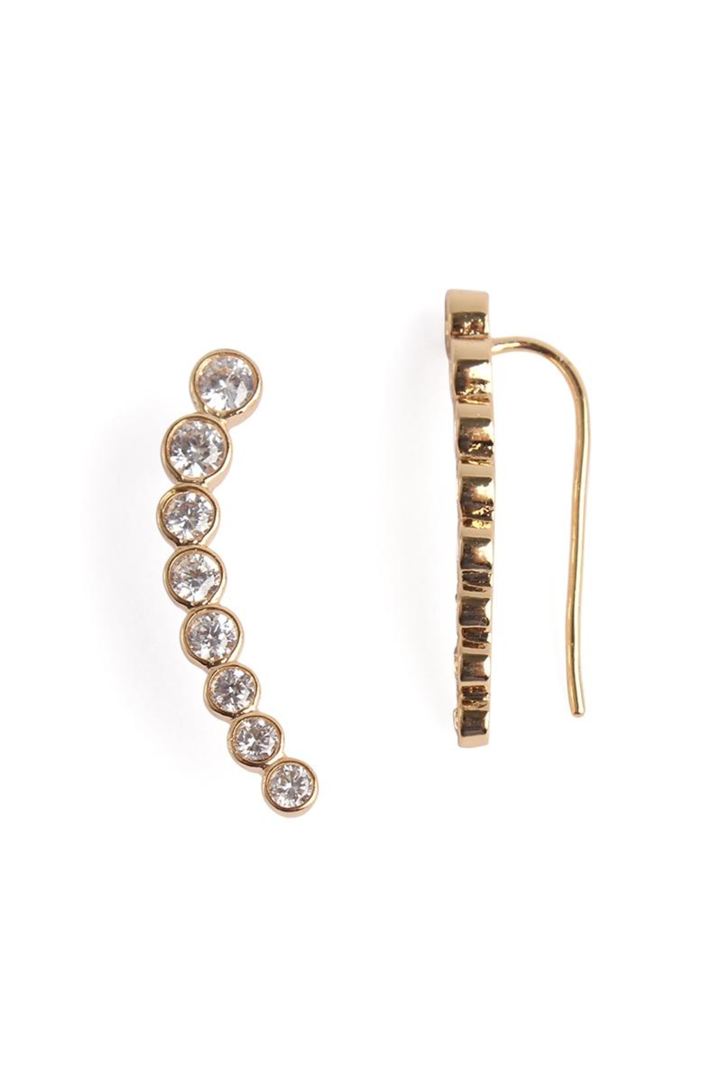 Riah Fashion Long Rhinestone Earrings - Front Cropped Image