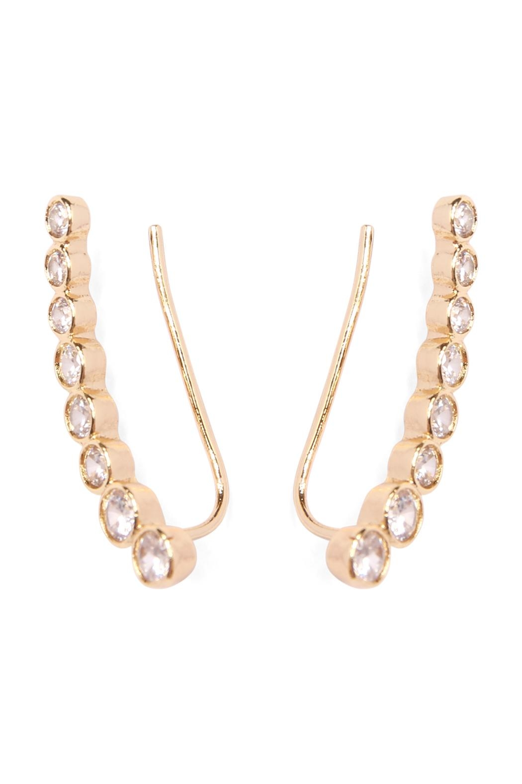 Riah Fashion Long Rhinestone Earrings - Side Cropped Image