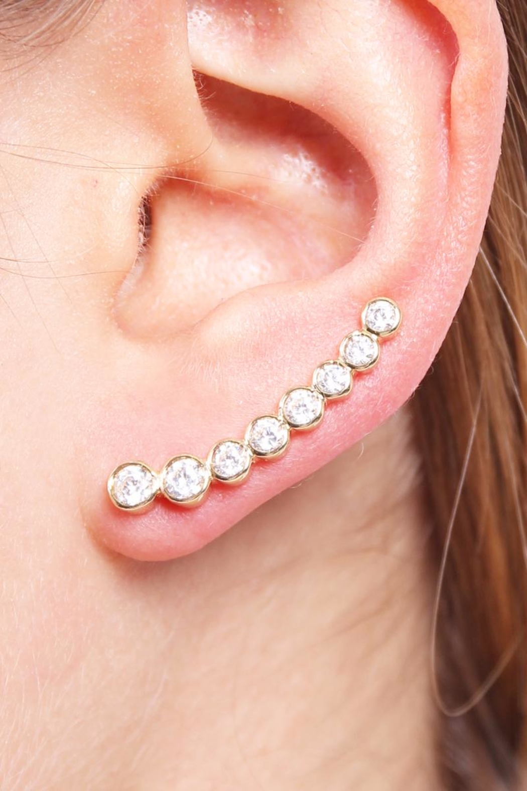 Riah Fashion Long Rhinestone Earrings - Main Image