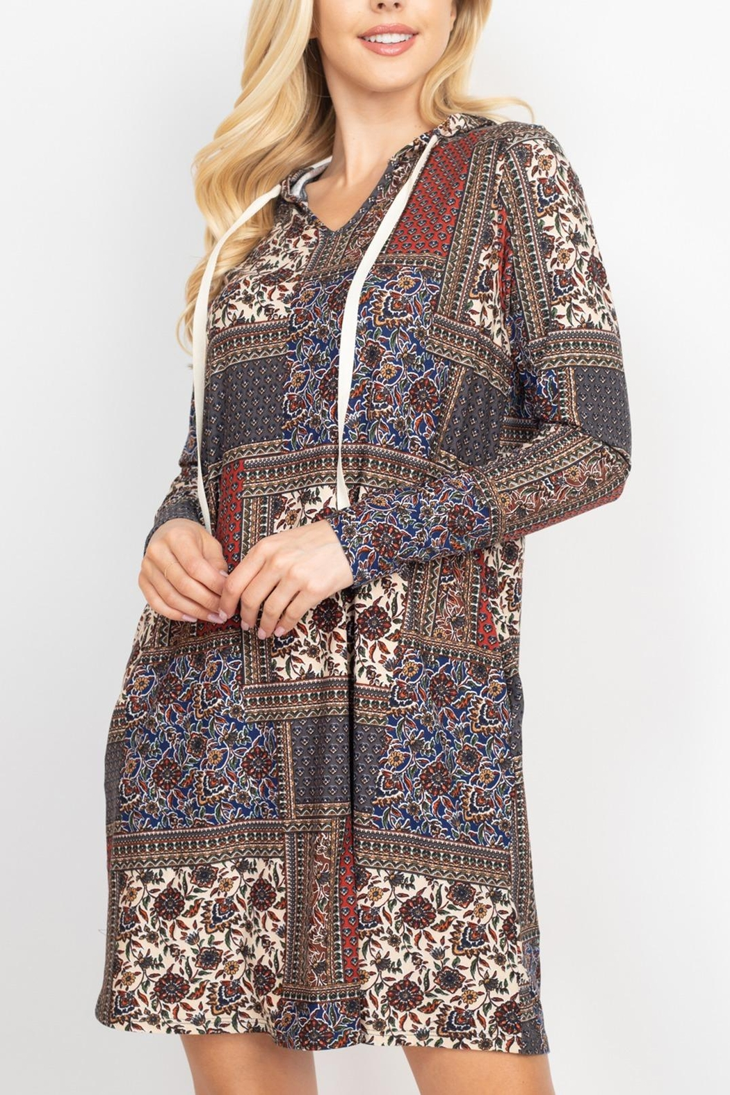 Riah Fashion Long-Sleeve-Ethnic-Floral-Self-Tie-Hoodie-Dress - Front Cropped Image