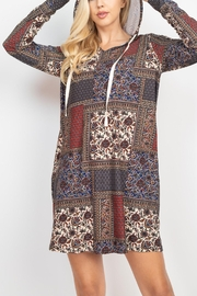 Riah Fashion Long-Sleeve-Ethnic-Floral-Self-Tie-Hoodie-Dress - Front full body