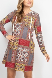 Riah Fashion Long-Sleeve-Ethnic-Floral-Self-Tie-Hoodie-Dress - Other