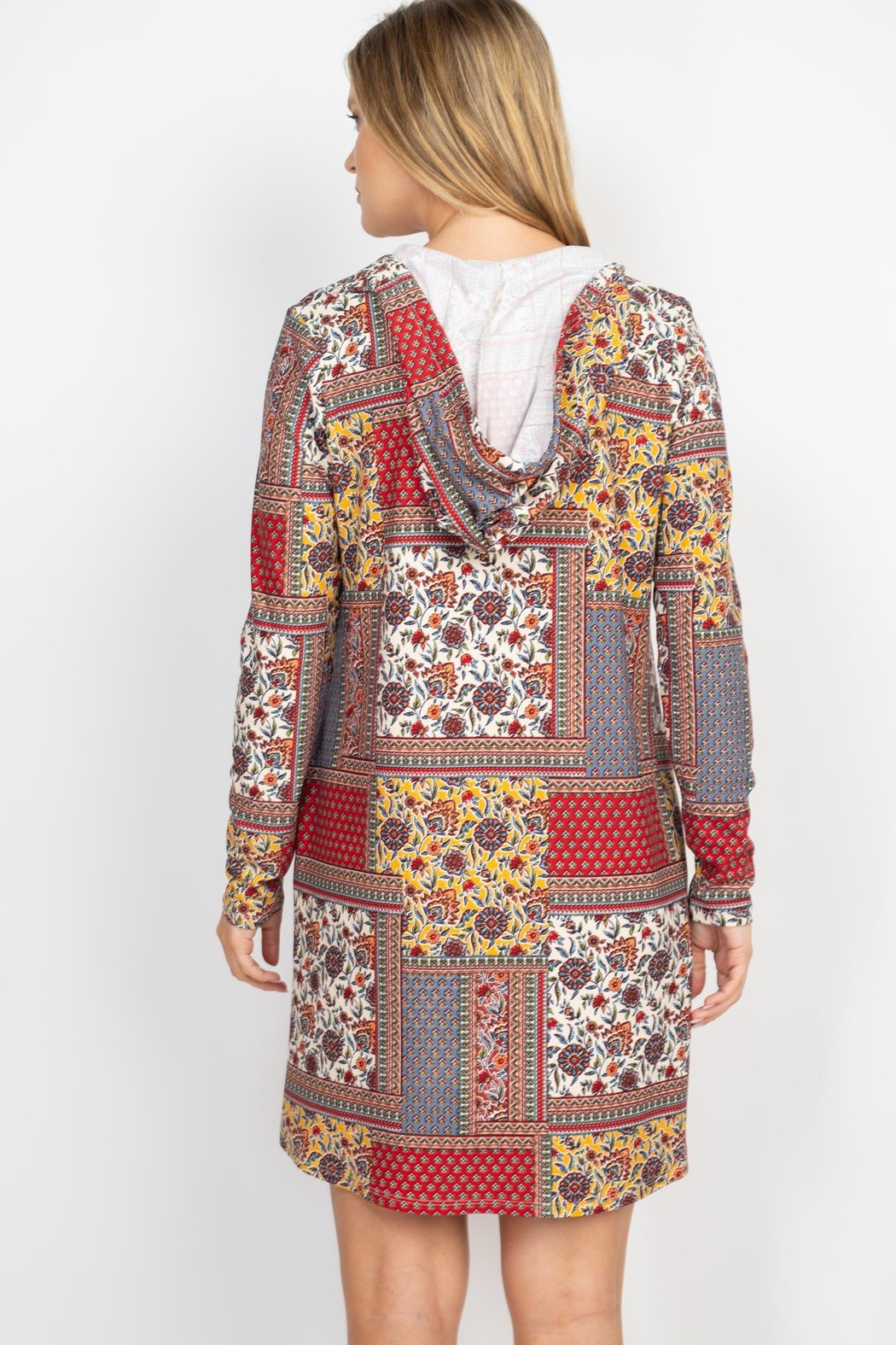 Riah Fashion Long-Sleeve-Ethnic-Floral-Self-Tie-Hoodie-Dress - Back Cropped Image