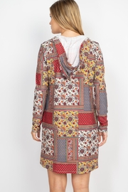 Riah Fashion Long-Sleeve-Ethnic-Floral-Self-Tie-Hoodie-Dress - Back cropped