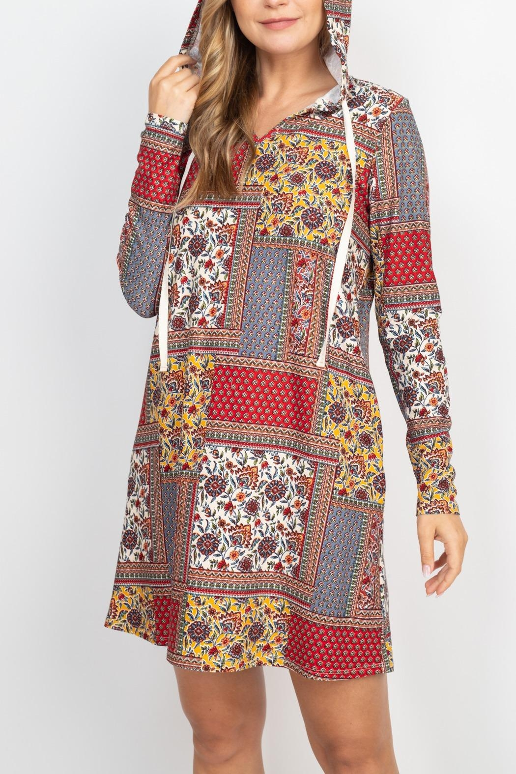 Riah Fashion Long-Sleeve-Ethnic-Floral-Self-Tie-Hoodie-Dress - Front Full Image