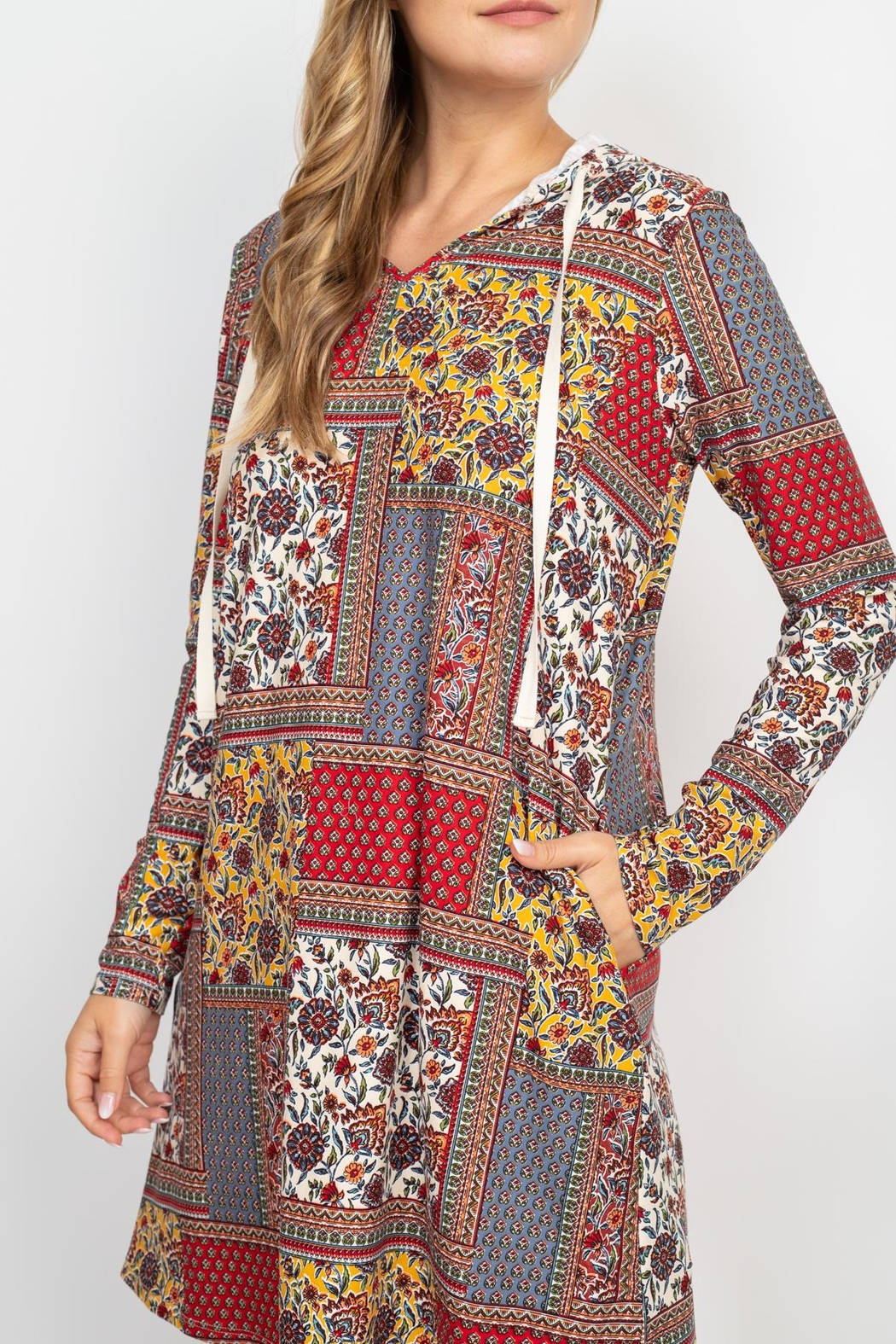 Riah Fashion Long-Sleeve-Ethnic-Floral-Self-Tie-Hoodie-Dress - Side Cropped Image
