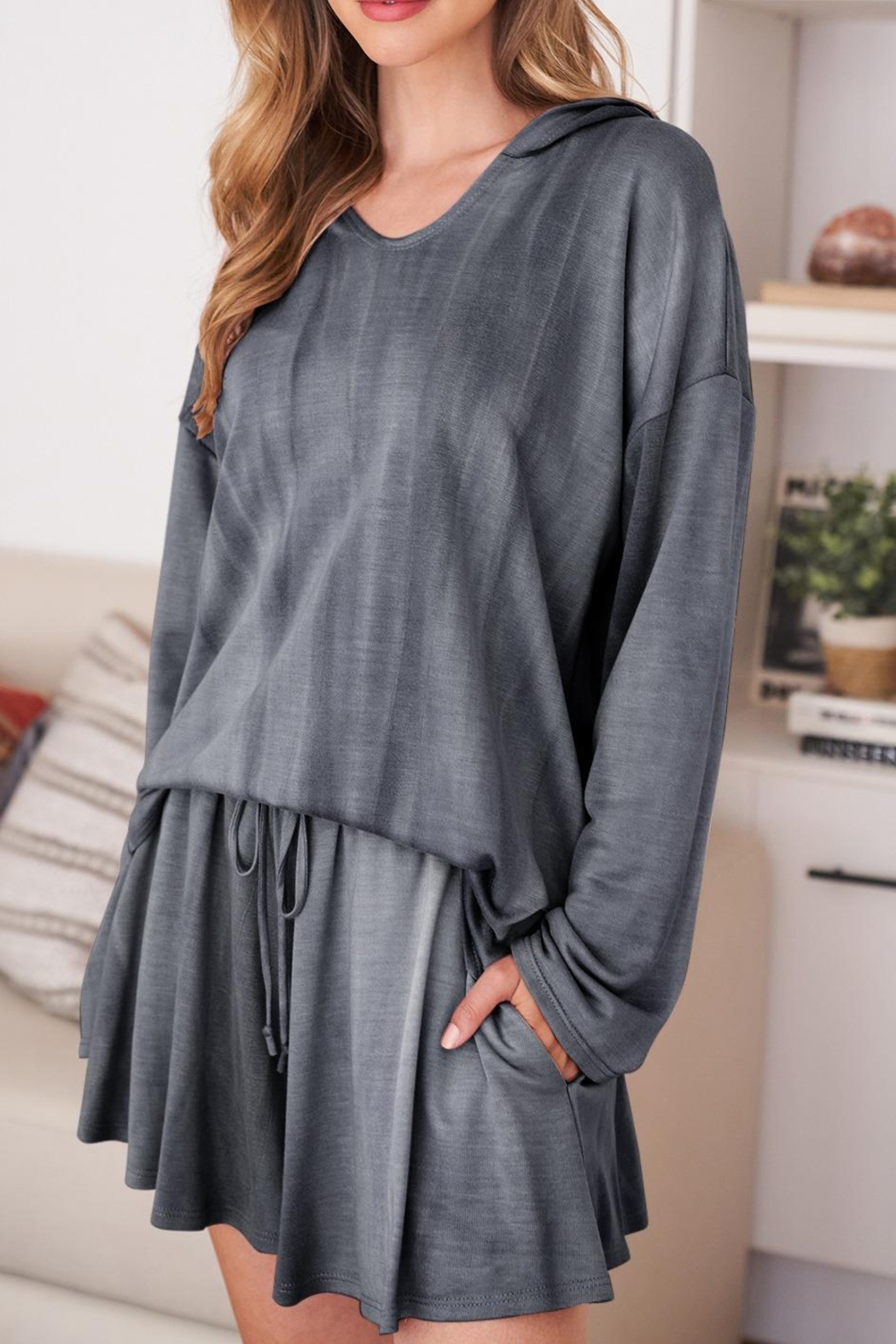 Riah Fashion Long-Sleeve-Hoodie And Short-Set-With-Self-Tie - Back Cropped Image