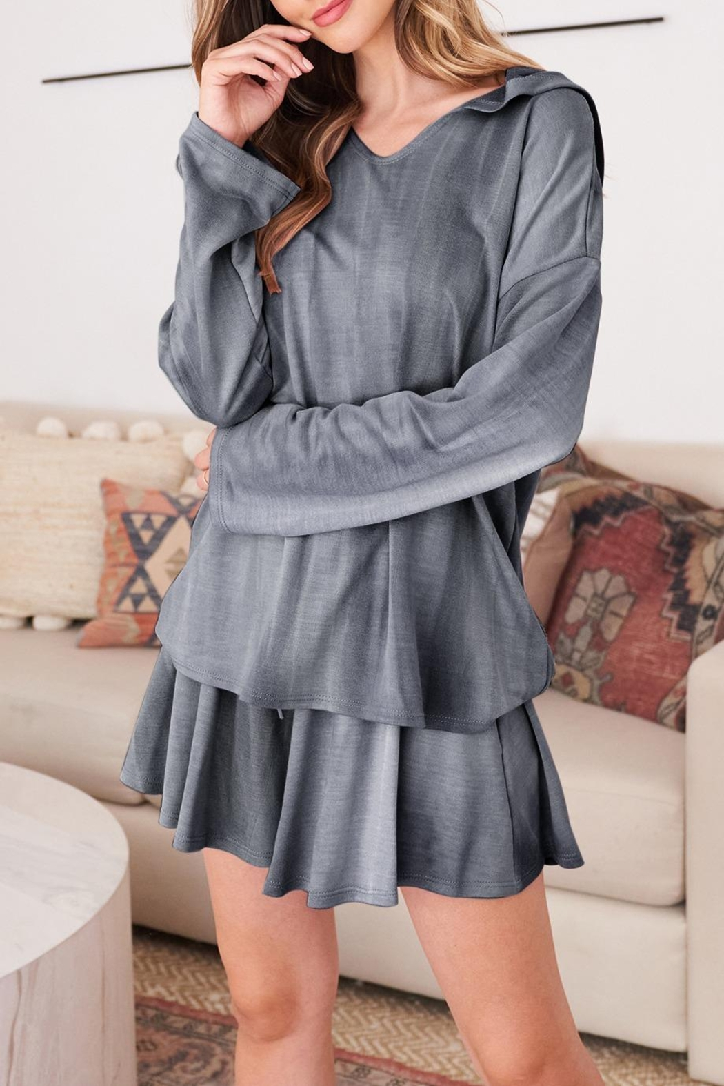 Riah Fashion Long-Sleeve-Hoodie And Short-Set-With-Self-Tie - Front Full Image