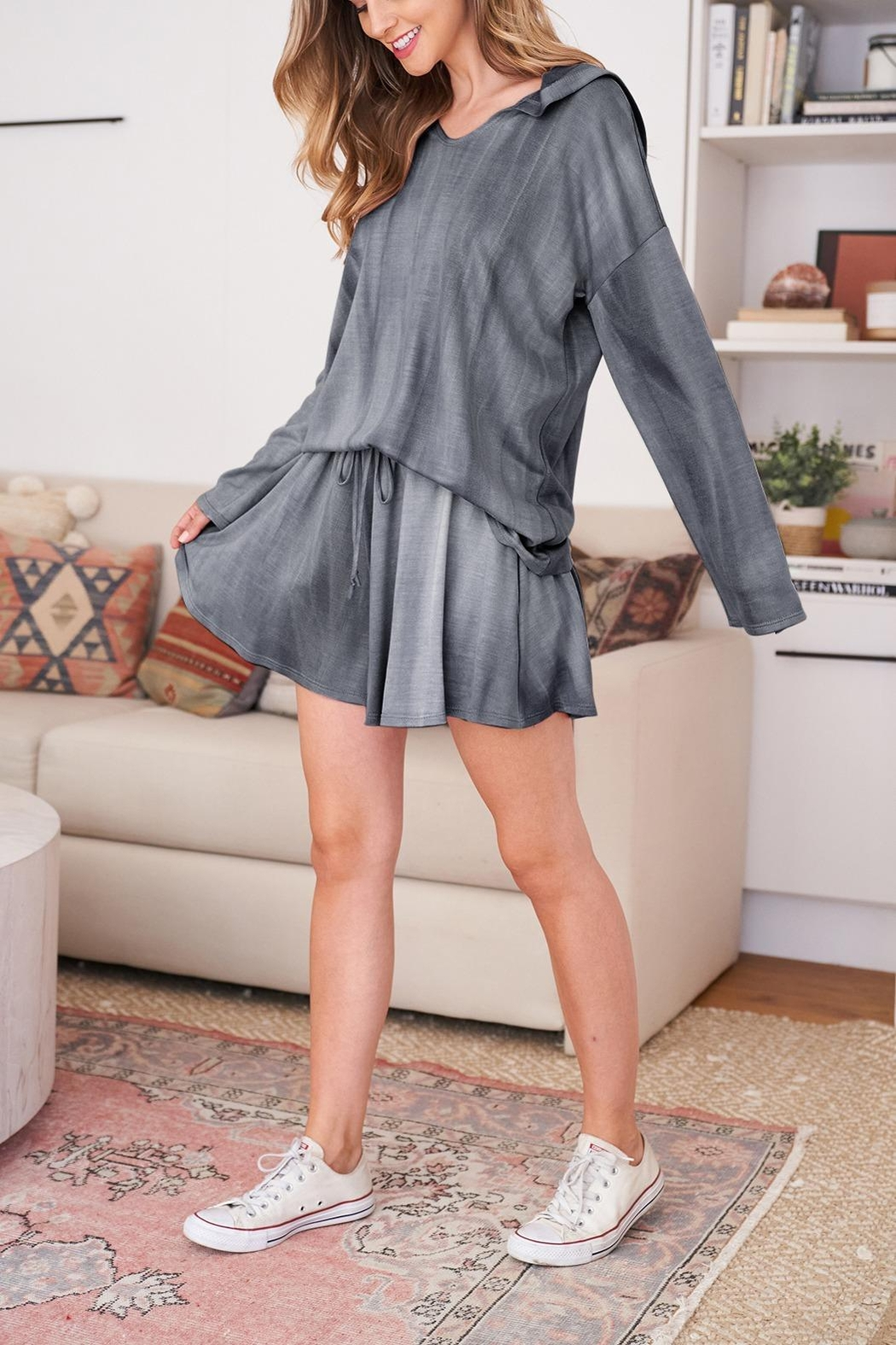 Riah Fashion Long-Sleeve-Hoodie And Short-Set-With-Self-Tie - Main Image