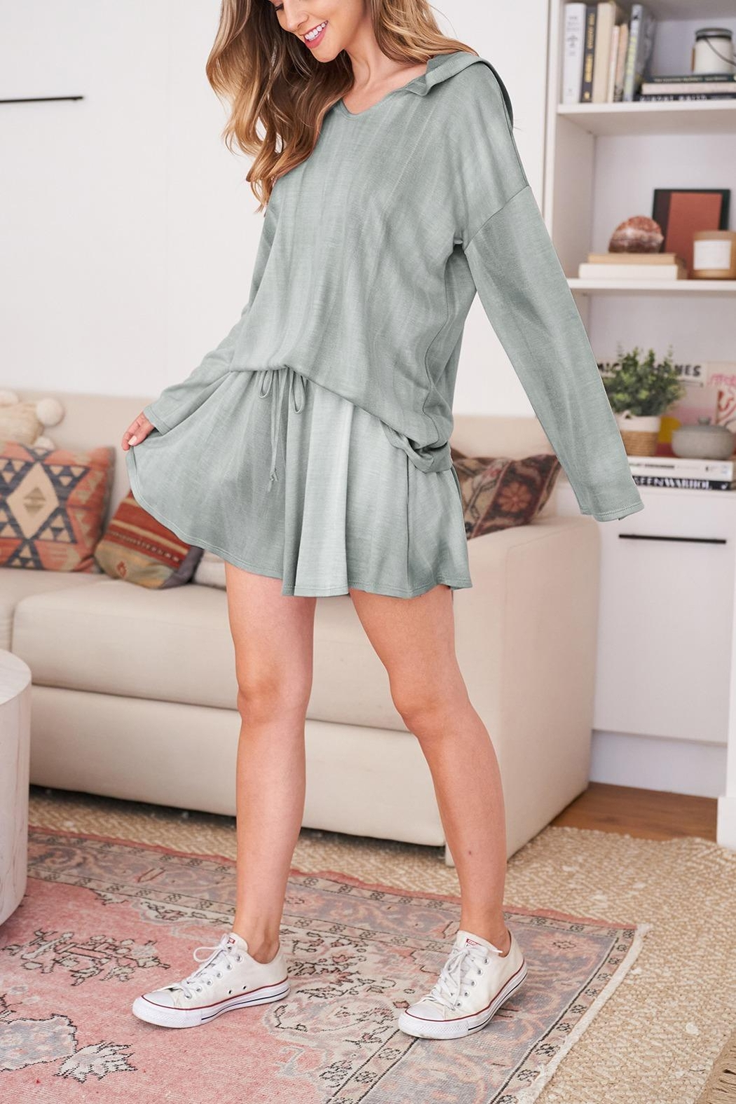 Riah Fashion Long-Sleeve-Hoodie And Short-Set-With-Self-Tie - Front Cropped Image