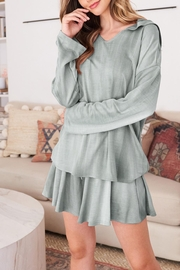 Riah Fashion Long-Sleeve-Hoodie And Short-Set-With-Self-Tie - Front full body