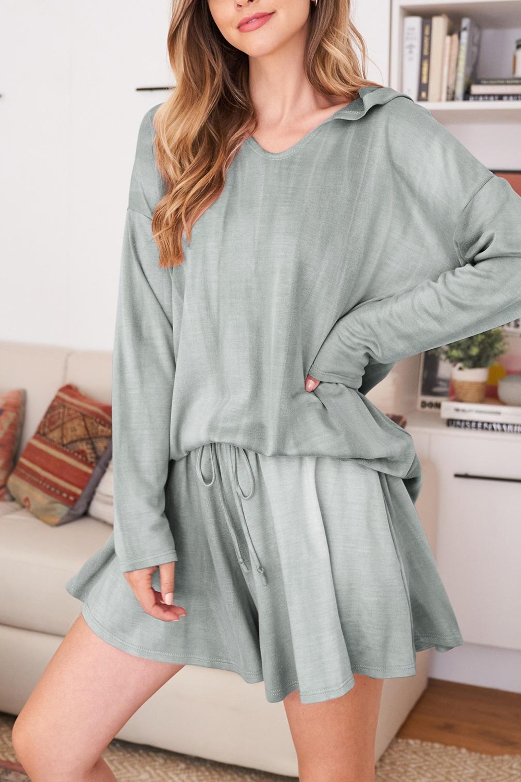 Riah Fashion Long-Sleeve-Hoodie And Short-Set-With-Self-Tie - Side Cropped Image