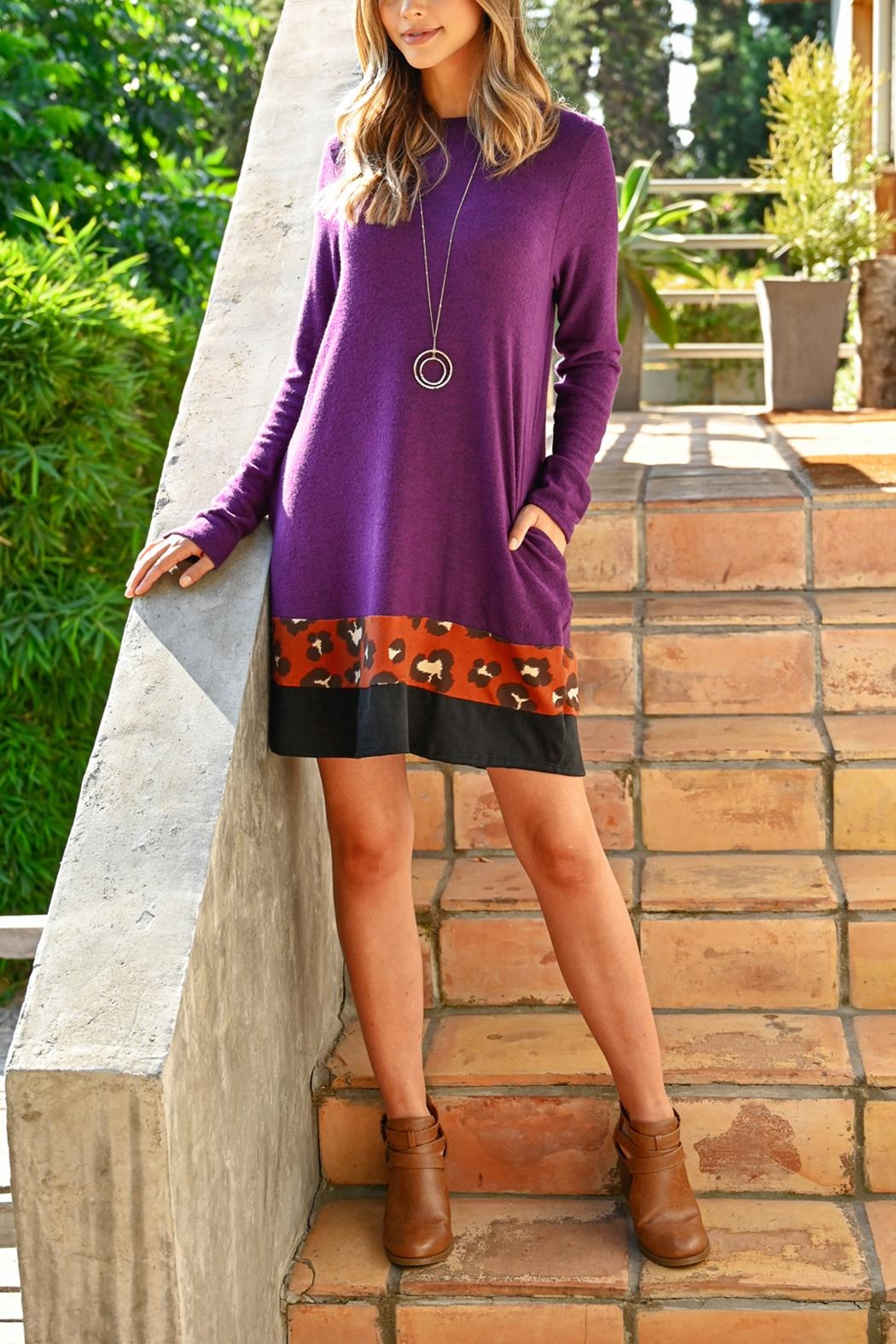 Riah Fashion Long-Sleeve-Leopard-Contrast Dress - Front Full Image