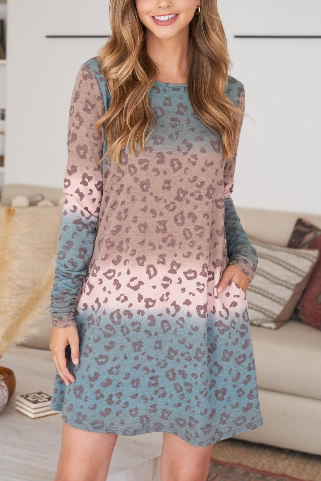 Riah Fashion Long-Sleeve-Ombre-Leopard-Dress-With-Side-Pocket - Front Full Image